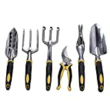 Garden Tools Set, Contains 6 pieces - Transplanter, Including Trowel, Cultivator, Weeding Fork, Weeder and Secateur. Heavy Duty Cast-aluminum Heads Ergonomic Handles Gardening Tool.FREE Garden Gloves.