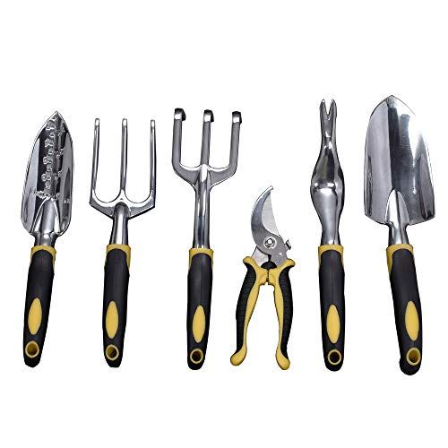Garden Tools Set, Contains 6 pieces - Transplanter, Including Trowel, Cultivator, Weeding Fork, Weeder and Secateur. Heavy Duty Cast-aluminum Heads Ergonomic Handles Gardening Tool.FREE Garden Gloves. by Sougem