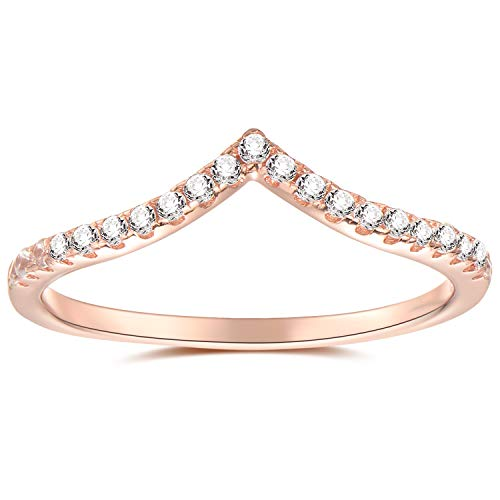 espere Womens Sterling Silver Eternity Band with AAA CZ 18K Rose Gold Plating Weddings Bands 1.8mm Width
