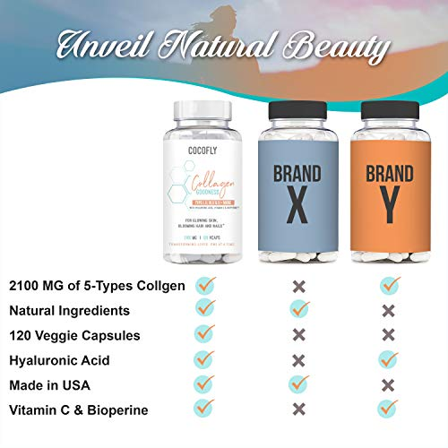 41%2BLEFBQrbL - COCOFLY Hydrolyzed Multi Collagen 5 Bloom Peptides Capsules - 2100 mg Grass Fed Supplements (Type I, II, III, V, X) + Hyaluronic Acid, Vitamin C, Bioperine, Super Pills for Women Anti-Aging, Skin Hair