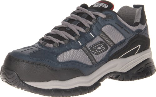 Skechers Mens Clogs - Skechers Men's Work Relaxed Fit Soft Stride Grinnel Comp, Navy/Gray - 8 D(M) US