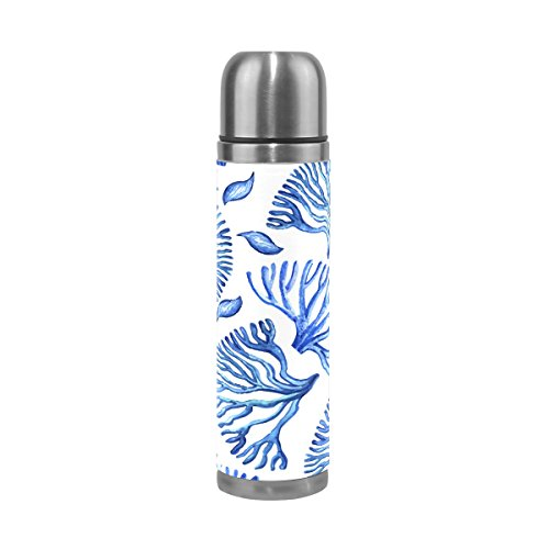 DEYYA Blue Sea Coral Vacuum Insulated Stainless Steel Water Bottle , Double Walled Construction Portable Thermos Water Bottle Cup, Keeps Your Drink Hot & Cold | 17 Oz (500 ml)