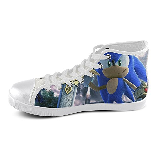 Show-shoes Custom Sonic The Hedgehog High Top Lace-up Flats Canvas Shoes Soft Comfortable Sneakers for Adult Women (Model002) 10US (Sonic The Hedgehog Sneakers)