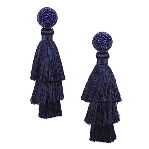 RIVERTREE Womens Layered Tassel Earring Beaded Boho Statement Fringe | Navy Blue 3 Tiered Long Vintage Chandelier Drop Dangle Earring