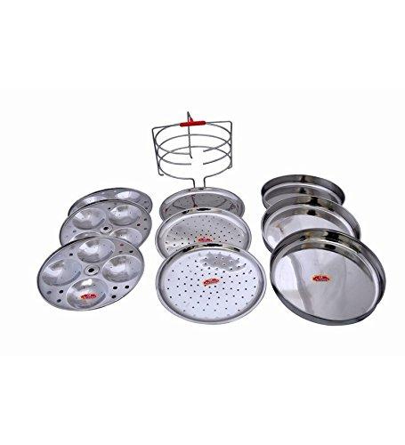 Marvel Stainless Steel Multipurpose Stand Steamer Dia:20cm (Idli,Dhokla,Patra,Modak Muthya & Kothimbirwadi) (4 Tier)