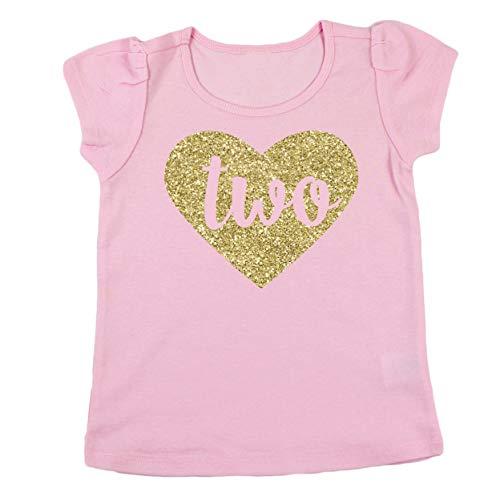 Olive Loves Apple Girls 2nd Birthday Shirt Glitter Gold Two in Heart Second Birthday Shirt for Baby Girls