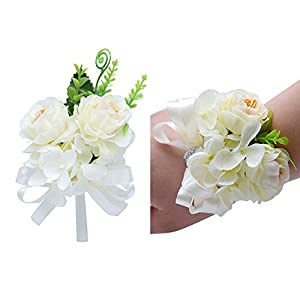 Florashop Satin Flower Corsage and Boutonniere Pack Wedding Bridal Bridesmaid Wrist Corsage Band Men's Groom Bridegroom Boutonniere for Wedding Prom Party Homecoming (Ivory) 88