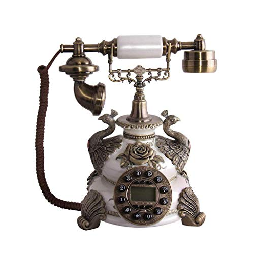 SunXue Gorgeous Vintage Landline Solid Wood and Resin Fixed Welcome - Telephone- Antique European Rotary Dial Phone, (Color : -