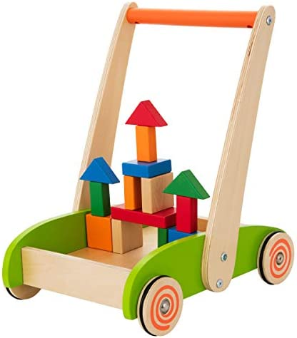 Baby Toys Kids/' Activity Toy Multiple Activities Center Develops Motor Skills /& Stimulates Creativity Wooden Push and Pull Learning Walker for Boys and Girls Assembly Required
