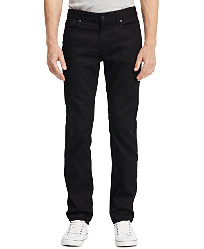 Slim Zip Fly Jeans (Calvin Klein Men's Slim Straight Fit Denim Jean, Black, 36x32)