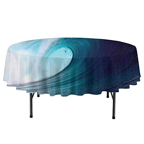 Ocean Decor Leakproof Polyester Round Tablecloth Tropical Surfing Wave on a Windy Sea Indonesia Sumatra Outdoor and Indoor use D67 Inch