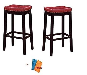 Linon Claridge Bar Stool,32 Red Set of 2 Free Clean Fabric Cloth