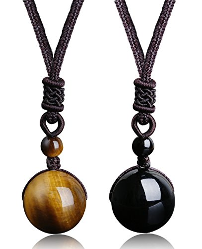 ORAZIO 2Pcs Natural Stone Beads Pendant Tiger Eyes Stone Necklace Couple Lover Relationship Necklace Adjustable Healing Necklace