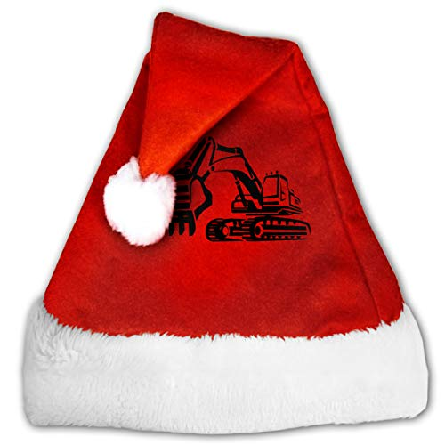 Digger Silhouette Christmas Hat, Red&White Xmas Santa Claus' Cap for Holiday Party Hat ()