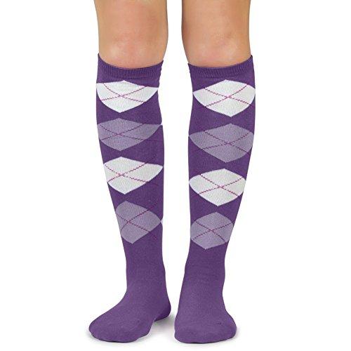 - Spotlight Hosiery Lady's Fashion Argyle Knee High Socks,Light Purple/White/Lavender
