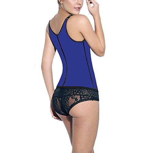 ZAMME mujers Underbust Acero Sin espinas Entrenador de la cintura Bodyshaper Corsé Vest For mujer Azul