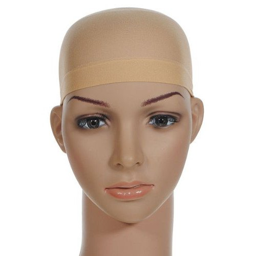 TRIXES Beige Nylon Hair Socking Bald Cap for Wigs Pack Of 2 - Glam Cap