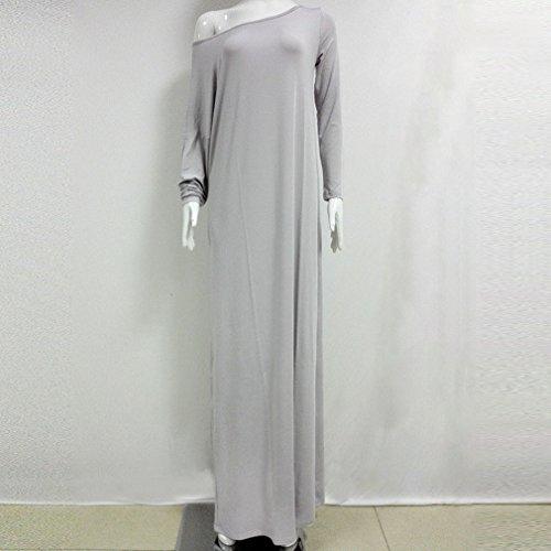 Honghu Summer Elegante Mangas Larga Culleo Maxi Vestido para Mujer Party Dress Gris claro