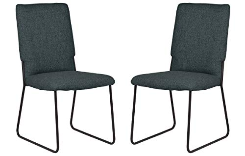 Rivet Ferry Modern Industrial Dining Room Kitchen Chairs, 36 Inch Height, Set of 2, Blue Green