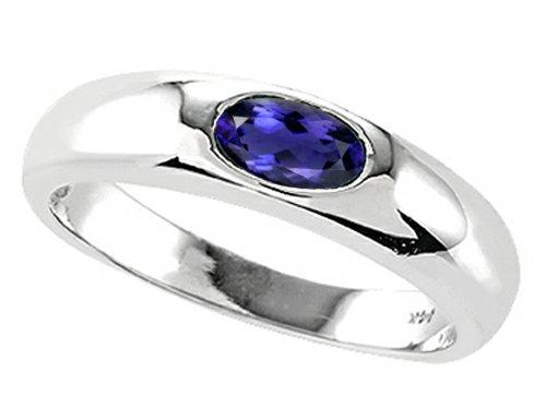 Tommaso Design Oval 6x4mm Genuine Iolite Ring 14 kt Yellow Gold Size 9 14k Yellow Gold Iolite Ring