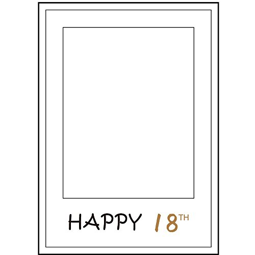 1pcs Happy 18th Birthday Anniversary Paper Photo Booth Props Picture Selfie Frame (White) (Photo Booth Card Frame)