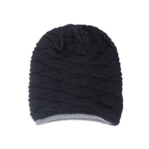 esquí gorro de invierno grueso honeysuck de hombre sombrero de gorra lana de térmico punto cálido punto qpY1P