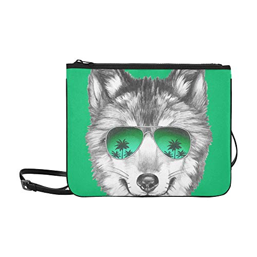 Cool Wolf Head With Sunglasses Green Pattern Pattern Custom High-grade Nylon Slim Clutch Bag Cross-body Bag Shoulder ()