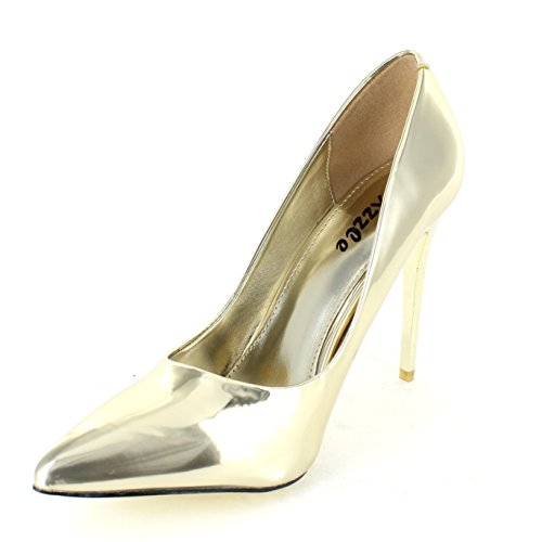 Suede Heels Pumps Urban Shoe Women's Gold Patent Pointed Material Toe Metalic aPIdw