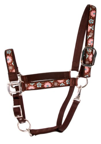 Red Haute Horse PTF1403 A Equine Elite Halter, Pink and Teal - Elite Medium Pink Flowers