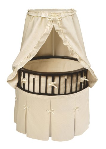 Elite Oval Wooden Baby Bassinet with Bedding, Canopy, and ()