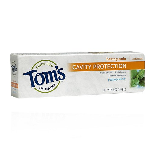 Toothpaste Peppermint Baking Soda (Tom's of Maine Cavity Protection with Baking Soda Natural Fluoride Toothpaste (Peppermint, 5.5)