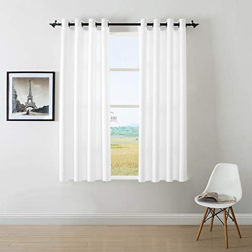 DWCN White Faux Linen Look Curtains for Bedroom Living Room Grommets Country Window Curtain 1 Panel 52×63 inch,Set of 2 Panels