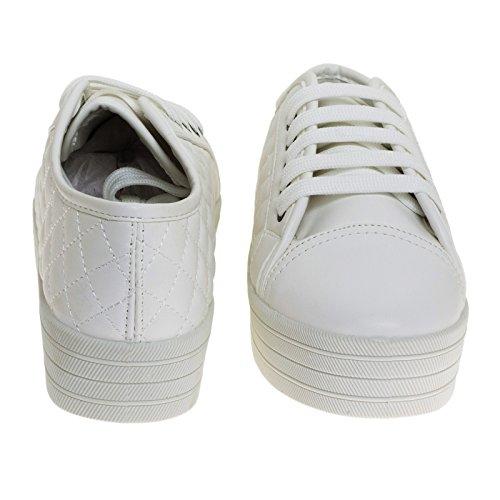 Breckelles In Similpelle Flatform Stringata Trapuntata Sneaker Con Plateau In Gomma Bianca
