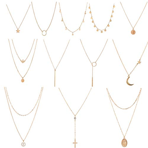 Dremcoue 12 Pcs Gold Choker Necklace for Women Girls Handmade Layered Dainty Chain Necklace Set Coin Choker Necklace]()