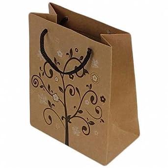 12 Grandes bolsas de papel Kraft marrón diseño árbol de ...