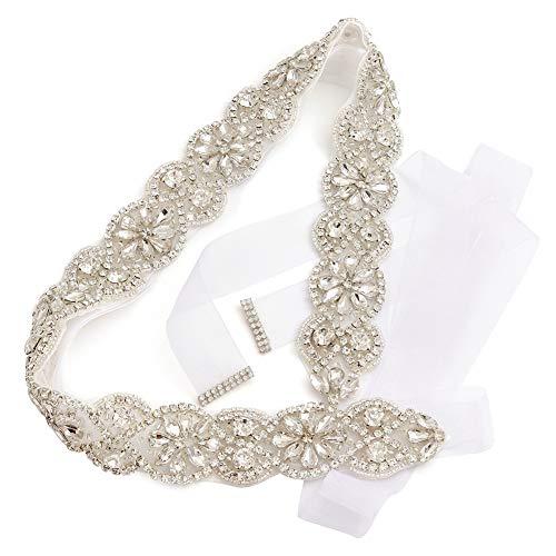 Yanstar Handmade Wedding Bridal Belts and Sashes Silver Crystal Rhinestone White Organza Belt for Wedding Bridesmaid Prom - White Rhinestone Crystal