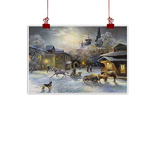 Sunset glow Canvas Prints Boho Country,Winter Landscape of a Western Town at Night in New World Rurals in Retro Style Art, Multicolor 48