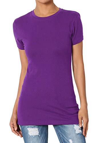 (TheMogan Women's Basic Crew Neck Short Sleeve T-Shirts Cotton Tee Purple XL)