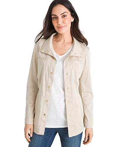 Chico's Women's Luxe Twill Utility Jacket Size 0/2 XS (00) Tan