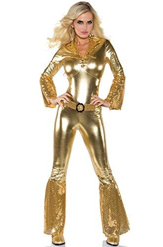 Underwraps Costumes Women's Gold Metallic Jumpsuit Costume - Disco Diva, Gold, ()