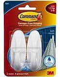 Command Designer Medium Plastic Hooks, Water-Resistant Strips, 2-Hook, 4-Strip