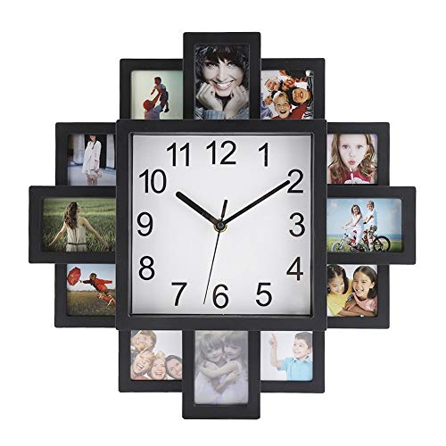 Wall Clock - 2 in 1 Plastic Wall-Mounted Clock + Photo Frame, Modern Home Decor, Living Room Decoration, Black
