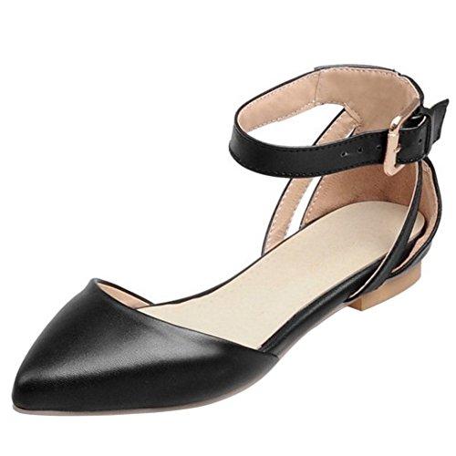 COOLCEPT Mujer Moda Correa de Tobillo Correas Sandalias Plano Cerrado Zapatos con Hebilla con Hebilla Negro