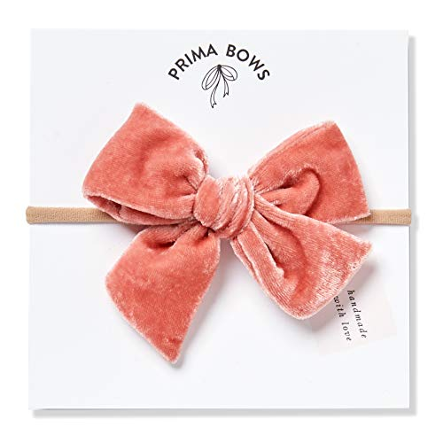 Handmade Coral Pink Velvet Fabric Bows For Girls, For Newborns Through Toddlers (1 Size Fits All) - Prima Bows (Coral Pink, Nylon Headband) ()
