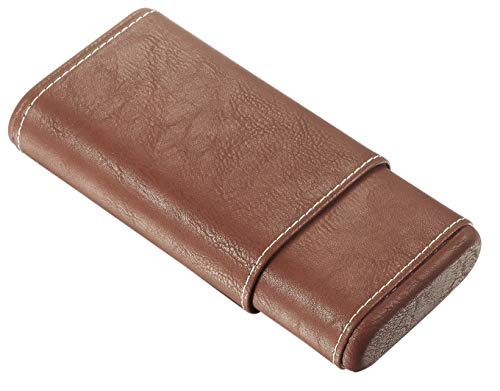(Visol Brown Cigar Case With White Stitching and Free Laser Engraving)