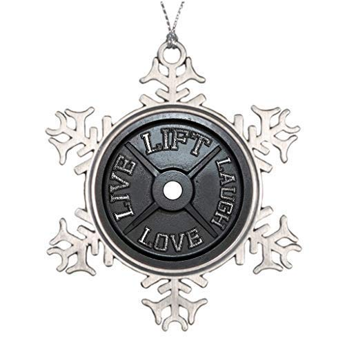 wonbye Christmas Ornaments 2018, Personalized Weightlifting Outdoor Tree Decorations Metal Snowflake Tree Decoration, Friends (Snowflakes White Metal)