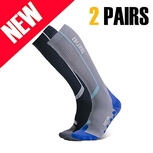 Thirty 48 Elite Compression Socks, Graduated 20-30mmHg Compression for Performance and Recovery (L/XL (US Women 11-14+ / US Men 9-13), [2 Pairs] Black/Grey & Blue/Grey)