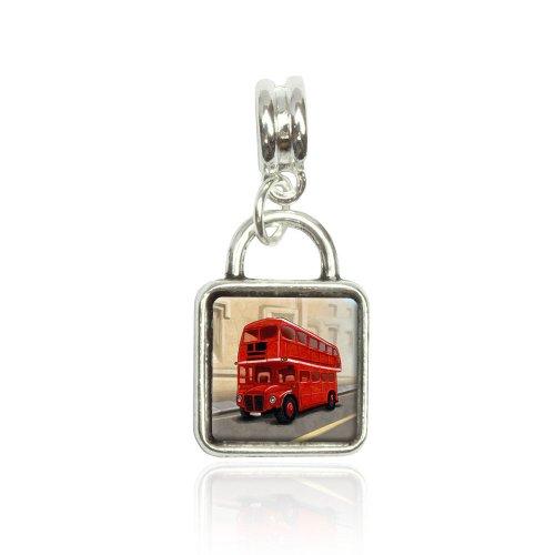 British Red Double Decker Bus Euro European Italian Style Bracelet Bead Sqr Charm