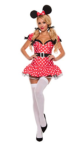 Minnie Sexy Costumes (Starline Women's Fun Mouse Sexy 3 Piece Costume Dress Set, Red/Black,)