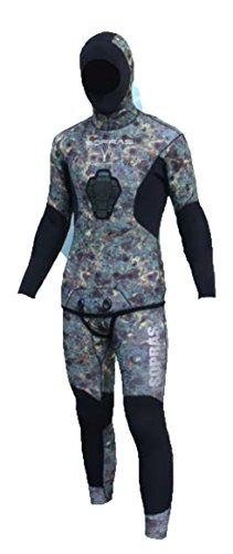 Sopras Sub Apnea Spearfishing Camo 2 pieces Wetsuit 3mm Size 3 camouflage freediving supratex separate jacket Farmer John with Hood Camofluage Wet Suit (Wetsuit Cell Open 3mm)